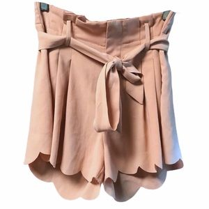 Cameo Rose Pink Shorts Scalloped Edges